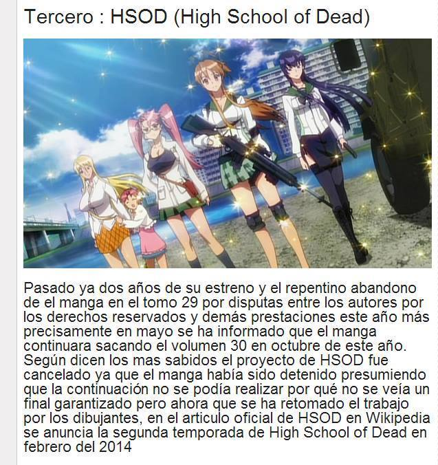 Highschool Of The Dead Segunda Temporada!